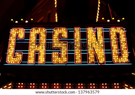 An old fashioned casino sign in the downtown area of Las Vegas Nevada - stock photo