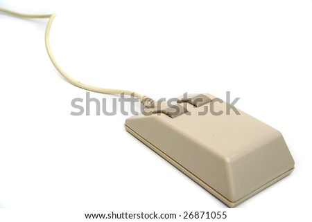 An old-fashioned computer mouse - stock photo