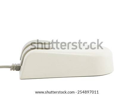 An old-fashioned computer mouse. All isolated on white background.