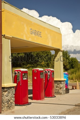 An old fashioned gas station on a back road  in rural Arizona. - stock photo