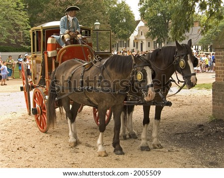 An old fashioned horse and carriage in Colonial Williamsburg.