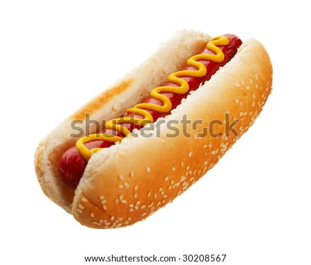An old-fashioned hot dog with mustard, on a sesame seed bun.  Shot on white background. - stock photo
