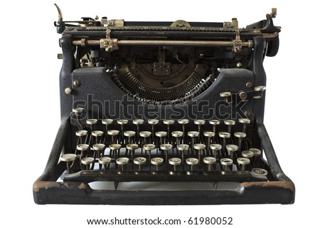 An old fashioned typewriter against a white background - stock photo