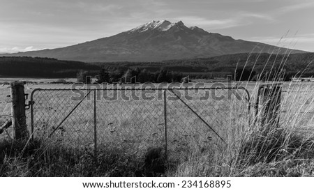 An old fence at Tongariro National Park, New Zealand - stock photo