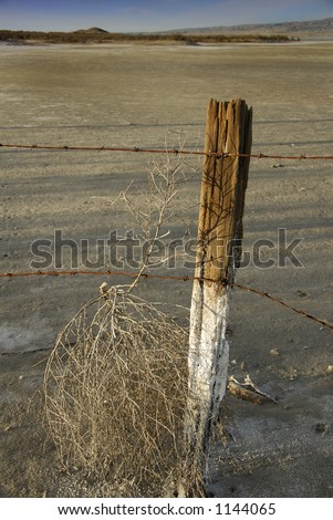 An old fence post and rusted barbed wire traps a tumbleweed on a desert salt flat. - stock photo