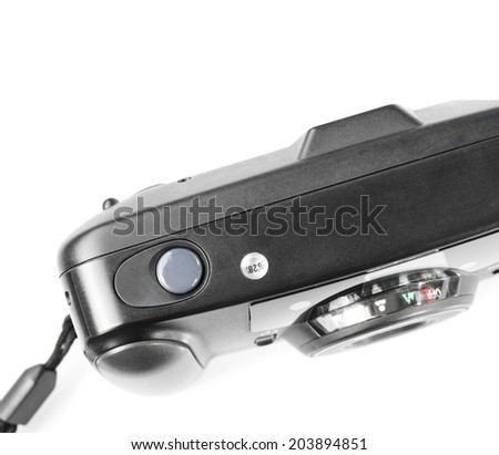 An old film plastic camera isolated on white background