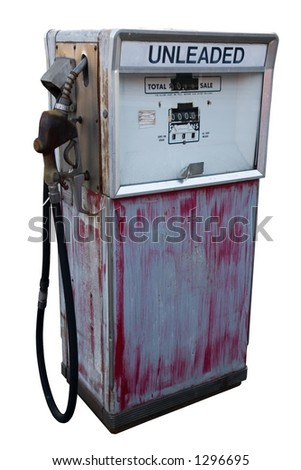 An old fuel pump. Isolated. White Background. - stock photo