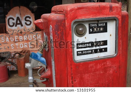 An old gas pump used as a movie prop. - stock photo