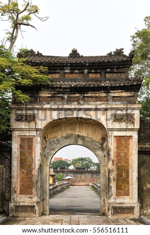 An old gateway to the Citadel in Hue Vietnam