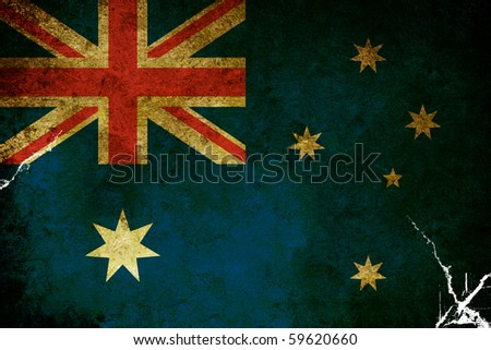 An old grunge flag of Australia state - stock photo