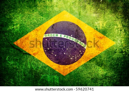 An old grunge flag of Brazil state - stock photo