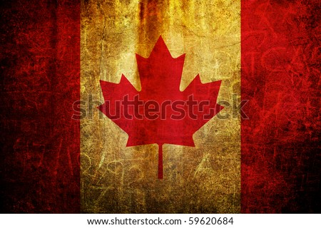 An old grunge flag of Canada state - stock photo