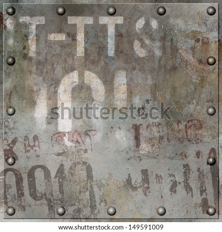 An Old Grunge Metal Plate Background with Rivets - stock photo
