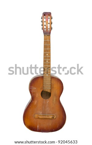 an old guitar on white background - stock photo