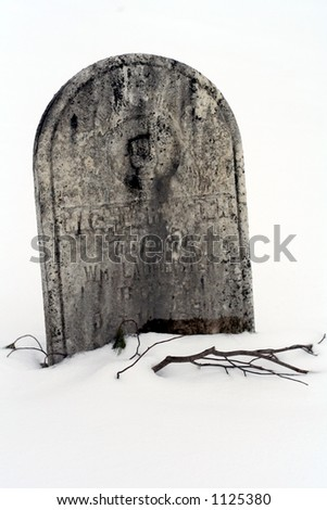 An old headstone blanketed with snow with a bare branch reaching out from under - stock photo