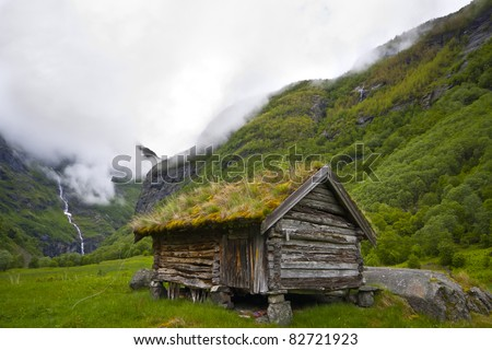 An old historic house in Norway - stock photo