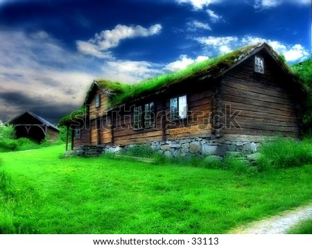 An old historic house, retouched in PS for a dreamy, unnatural look. Taken in Borgund Museum , Aalesund, Norway.