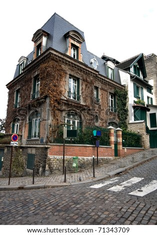 An old house in the Montmartre district, Paris, France - stock photo