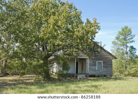 An old house in the South Carolina woods. - stock photo
