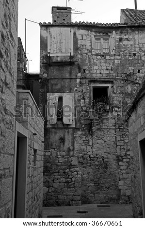 An old house is in town Trogir, in Croatia.