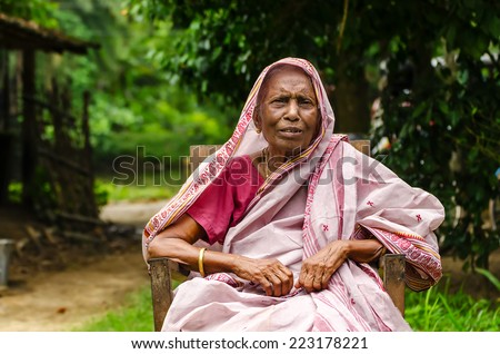 An Old Indian Lady - stock photo
