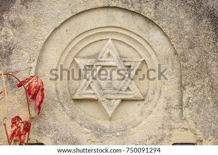 Old Jewish Cemetery Religious Symbols Flowers Stock Photo 750091294