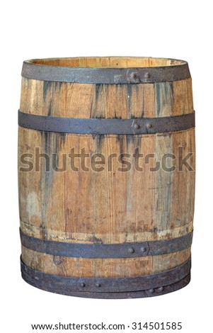 An old large oak barrel, isolated on white background - stock photo