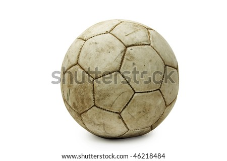 an old leather ball isolated on a white background - stock photo
