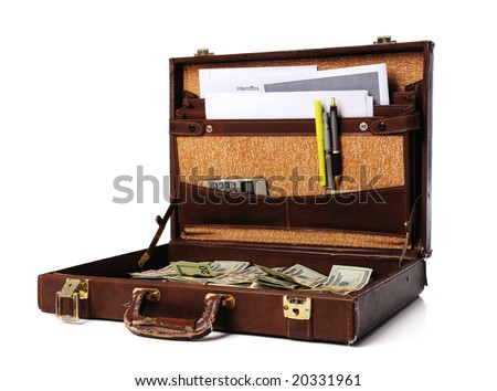 An old, leather briefcase open and full of money