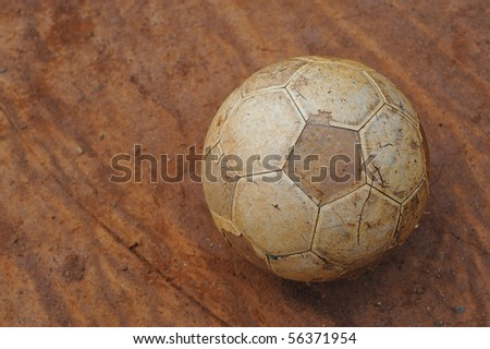An old leather Football. - stock photo
