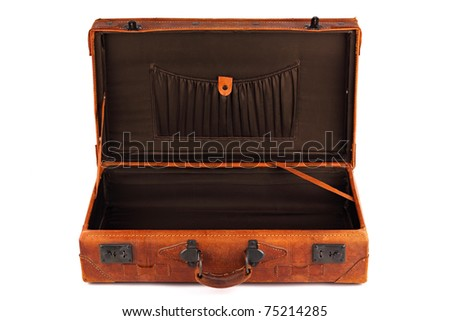 An old leather opened suitcase on white background - stock photo