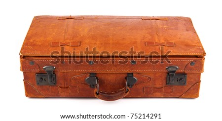 An old leather  suitcase on white background