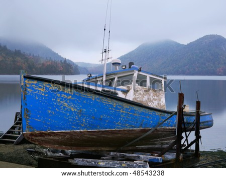 An Old Lobster Boat, Beached And Waiting For A New Coat Of Paint, Acadia National Park, Maine, Photo Composite - stock photo