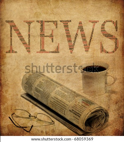 An old looking texture with the word news filled with words concerning journalism. Great for backgrounds etc. - stock photo