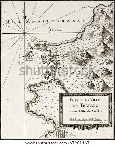 An old map of Trapani and surrounding territories. The original map was created by Bellin and was published  around 1760 - stock photo