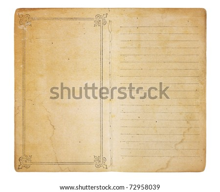 An old memo book opened to reveal yellowing, stained pages. One page is empty except for a border; the other is lined. Both have room for images and text. Isolated on white. Includes clipping path. - stock photo