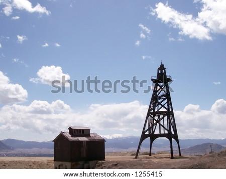 An old mine headframe in Butte, Montana. - stock photo