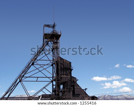 An old mine headframe in Butte, Montana. - stock photo