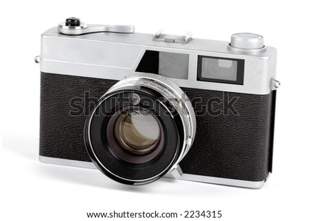 An old 35mm camera on white - stock photo