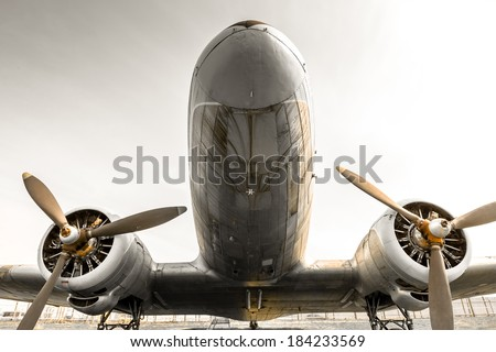 an old obsolete aircraft propeller - stock photo