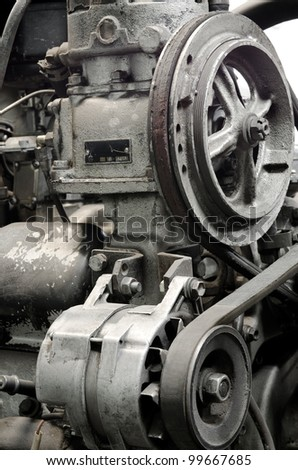 an old outdated engine, a closeup shot