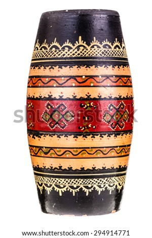an old painted vase isolated over a white background - stock photo