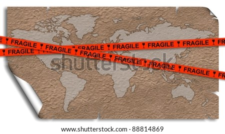 An old paper map of Earth with a red fragile tape over it / Fragile Earth