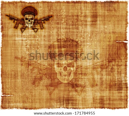 An old parchment background image, featuring a human skull wearing an Army General's hat with crossed rifles. - stock photo