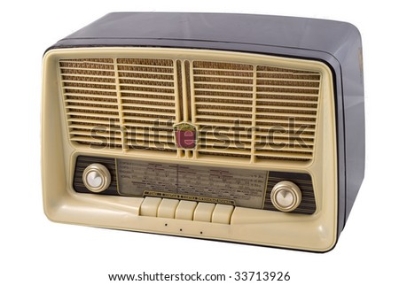 An old radio isolated on a white background