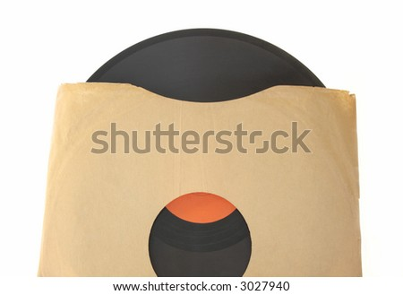 an old 78 record with a red label in a plain brown paper sleeve isolated on white - stock photo