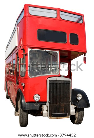 An old red London double-decker open top bus. - stock photo