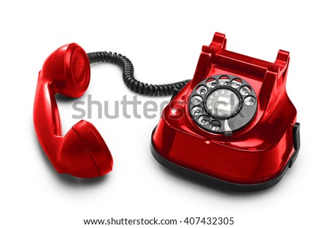 An old red telephon with rotary dial - clipping path  - stock photo