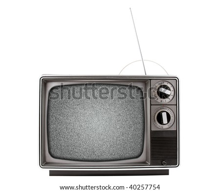 An old retro television with a bad signal, represented by analog snow.  Has both a UHF and VHF antenna.  TV is isolated on a white background, and contains a path for the TV as well as the screen.