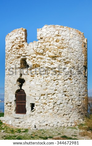 An Old Ruined Tower in Nessebar, Bulgaria  - stock photo
